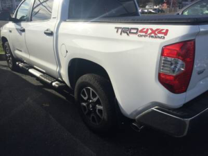 Toyota Tundra in white with black wheels